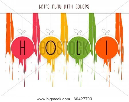 Stylish text Holi on colours splash background, concept for Indian colour festival Holi celebrations.