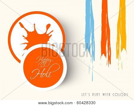 Beautiful concept for Indian colour festival Happy Holi with paint colours and sticker, tag or label.