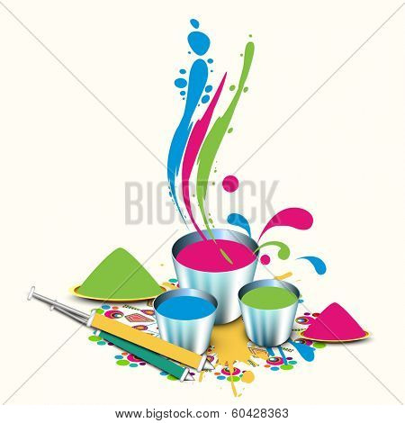 Indian festival Happy Holi celebrations concept with powder and liquid colours in bucket, pichkari on splash background.