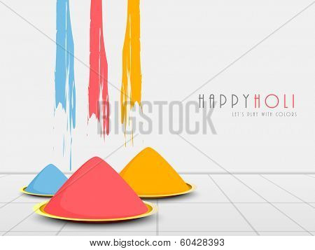 Indian festival Happy Holi celebrations background with colour powders and splash on abstract background.