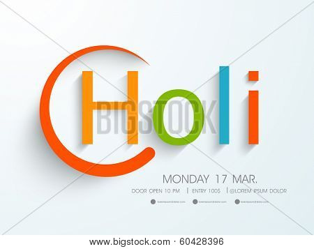 Beautiful and stylish colourful text Holi on blue background, concept for Indian colour festival Holi celebrations.