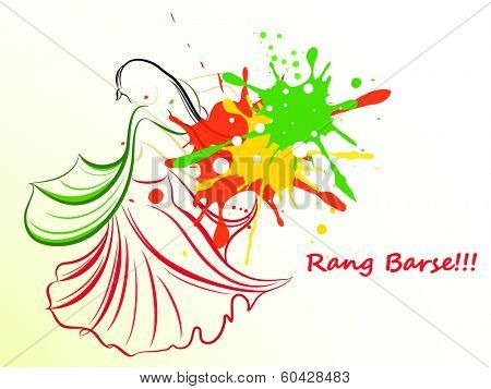 Indian festival Happy Holi celebrations concept with illustration of a young lady in traditional outfits stylish hindi text Rang Barse (Raining of colours) on colours splash background.