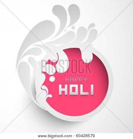 Indian festival Happy Holi celebrations sticky decorated by beautiful floral design on grey background, can be use as sticker, tag or label.
