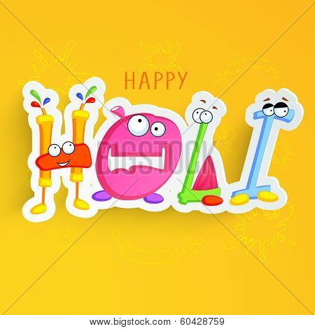Stylish colourful kiddish text Happy Holi on yellow background.