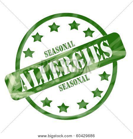 Green Weathered Seasonal Allergies Stamp Circle And Stars