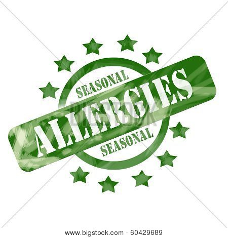 Green Weathered Seasonal Allergies Stamp Circle And Stars Design