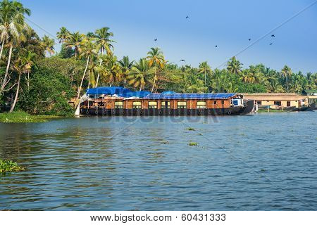 Landscape With Houseboat In Kerala Backwaters
