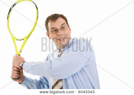 Businessman With Tennis Racket