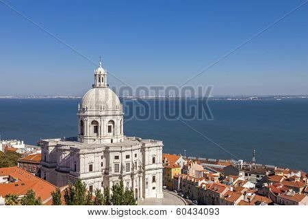 National Pantheon (Panteao Nacional or Santa Engracia Church) with Tagus River in background. 17th century baroque architecture. Lisbon, Portugal.