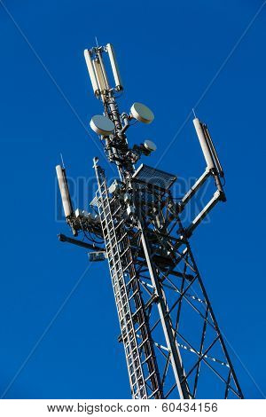 a transmission tower for mobile and cell phones in germany. german mobile station.