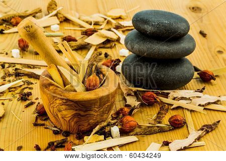 ingredients for a cup of tea in traditional chinese medicine. cure of diseases by alternative methods.