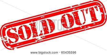Grunge sold out rubber stamp, vector illustration