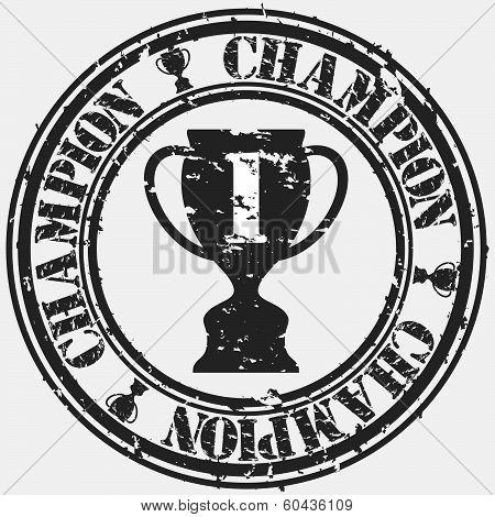 Grunge champion rubber stamp, vector illustration