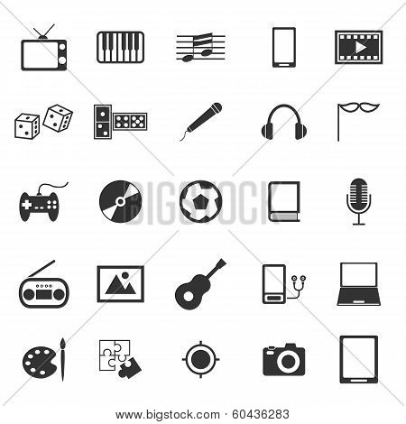 Entertainment Icons On White Background