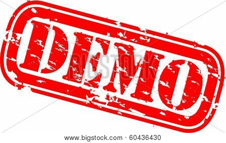 Grunge demo rubber stamp, vector illustration
