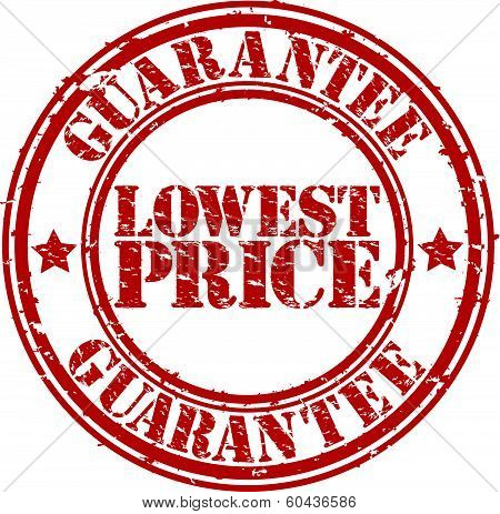 Grunge lowest price guarantee rubber stamp, vector illustration