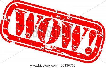 Grunge wow rubber stamp, vector illustration