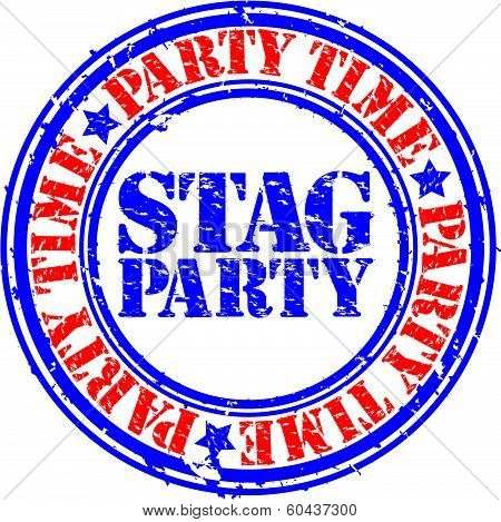 Grunge stag party rubber stamp, vector illustration