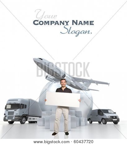 A man holding a blank message board with the world, piles of packages, truck, chronometer,  van and airplane on the background
