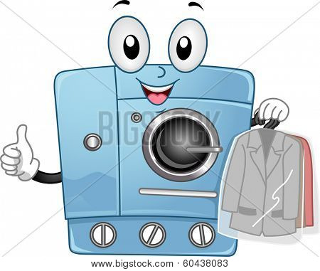 Mascot Illustration Featuring a Dry Clean Machine