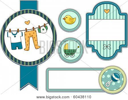 Illustration Featuring Different Items Commonly Used by Baby Boys