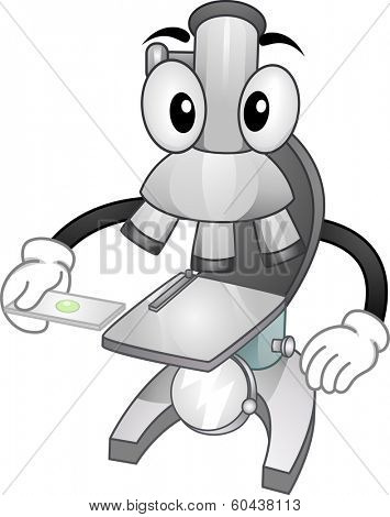 Mascot Illustration Featuring a Microscope Holding a Slide with a Specimen