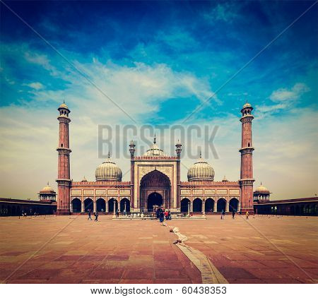 Vintage retro hipster style travel image of Jama Masjid - largest muslim mosque in India. Delhi, India