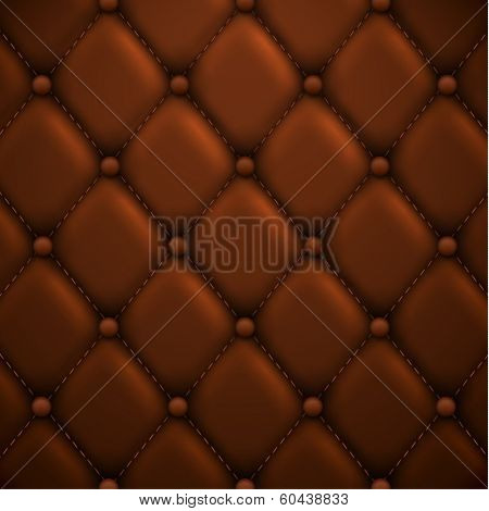 Brown buttoned leather upholstery background - eps10 vector