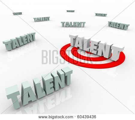 Talent Words Target Bulls Eye Job Skills Best Job Candidate Applicant