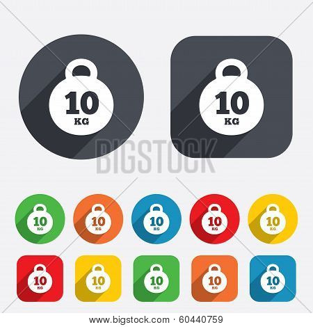Weight sign icon. 10 kilogram (kg). Sport symbol