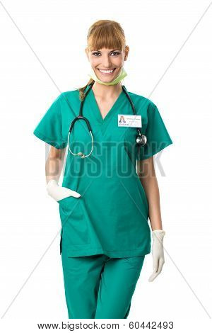 Pretty surgeon in green dress