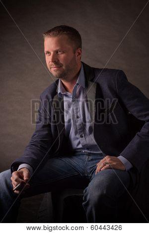 Model with cigarette shot in studio