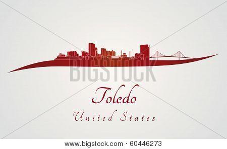 Toledo Oh Skyline In Red