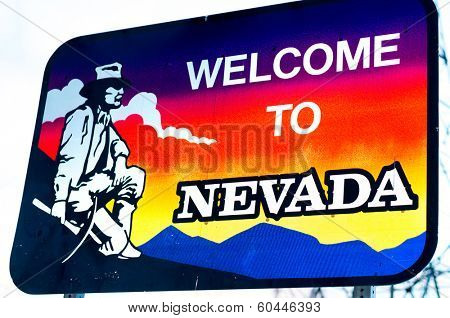 Welcome to Nevada state border sign