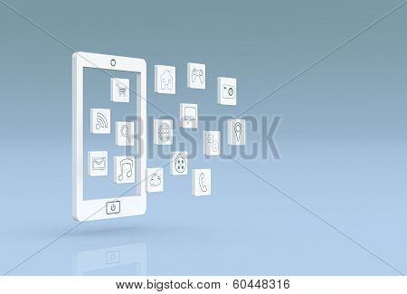 Mobile Phone With Apps Icons
