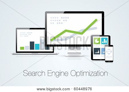 Search engine optimization marketing analysis vector illustration