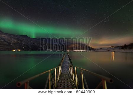 Aurora Borealis Over A Norwegian Fjord
