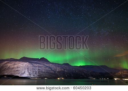 Night Sky In Winter Norway : Aurora Borealis