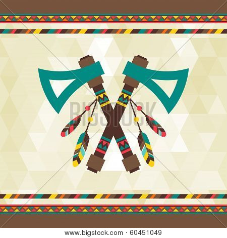 Ethnic background with tomahawk in navajo design.