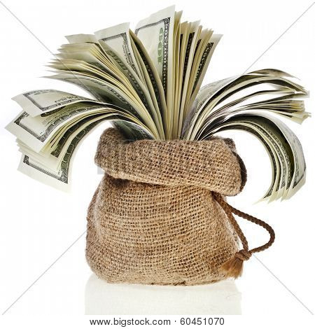 Money banknotes in the sack bag isolated on a white background
