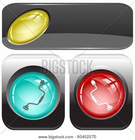 Hand drill. Internet buttons. Raster illustration.
