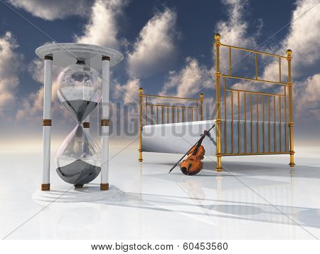 Violin and bed with hourglass