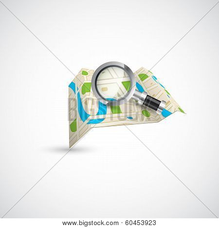 Road Map with Magnifying Glass