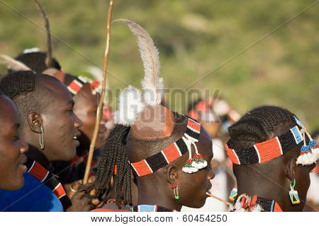 Boys Wearing Traditional Costumes In The Bull Jumping Ceremony, Ethiopia