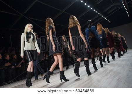 NEW YORK-FEB 8: Models walks the runway at the Jill Stuart fashion show during Mercedes-Benz Fashion Week Fall 2014 at Lincoln Center on February 8, 2014 in New York City.