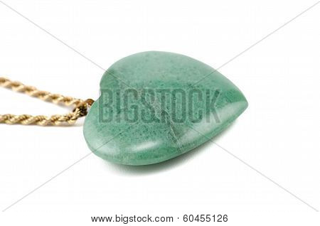Aventurine Heart With Golden Chain