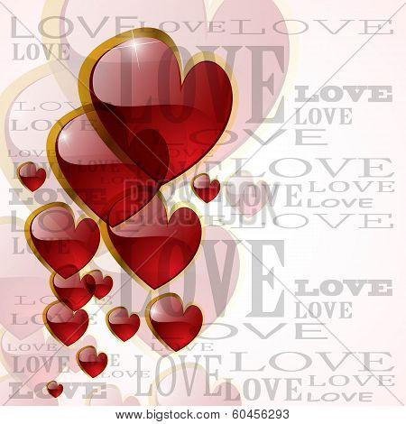 Abstract Glossy Heart On White - Vector Illustration