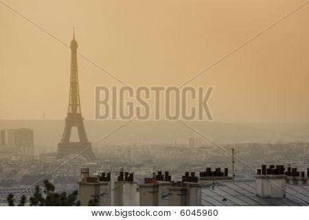 Famous Eiffel Tower In The Dusk
