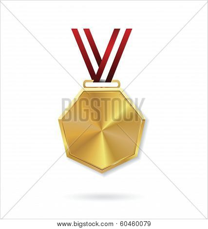 Vector illustration of gold medal with red ribbon
