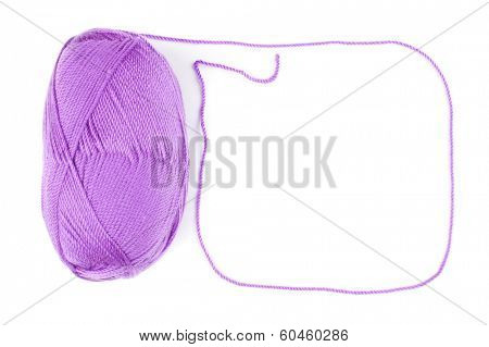 yarn skein of purple color on  white background